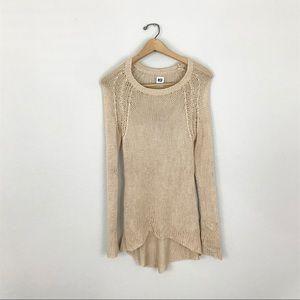 NSF Medium Open Knit Sweater Tan Beige